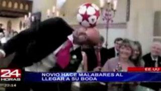 Estados Unidos: novio se pone a jugar con una pelota mientras llega su prometida