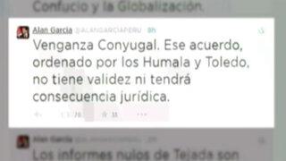 """Alan García califica de """"venganza conyugal"""" a informe de la Megacomisión"""
