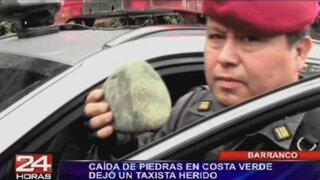 Costa Verde: taxista resultó herido luego de que roca impactara sobre su vehículo
