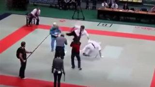VIDEO: réferi sufre ataque de ira y noquea a los luchadores de karate