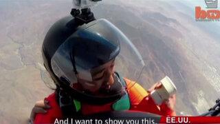 VIDEO: paracaidista pidió matrimonio en el aire y anillo cayó al vacío
