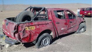 Moquegua: dos heridos tras despiste de camioneta en la Panamericana Sur