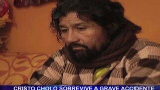 'Cristo Cholo' sobrevive a grave accidente y queda con secuelas neurológicas