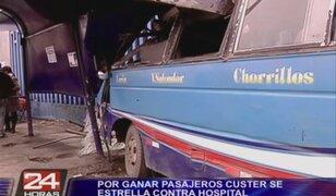 Chorrillos: custer se estrelló contra Hospital por tratar de ganar pasajeros