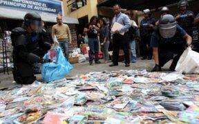 Incautan más de 2 millones de productos 'piratas' en centro comercial 'El Hueco'