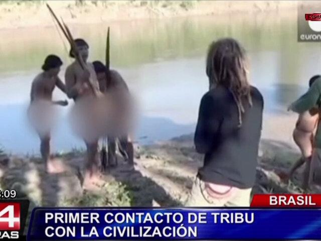 Brasil: difunden imágenes de primer contacto de tribu con la 'civilización'