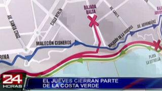 A partir de este jueves la Costa Verde será cerrada por 90 días