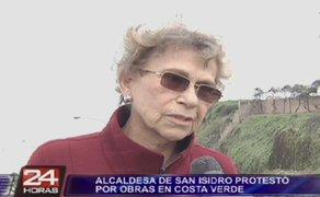 Alcaldesa de San Isidro protestó por obras en la Costa Verde