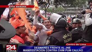 Opositores de Chim Pum Callao protagonizaron desmanes en exteriores del JNE