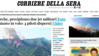 Italia: dos aviones de la fuerza aérea chocan durante entrenamiento
