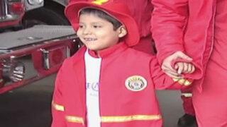 Sueño cumplido: niño con leucemia fue bombero por un día en Miraflores