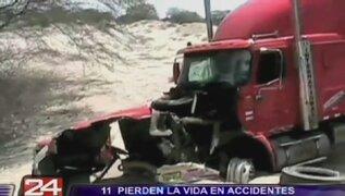 Interior del país: once personas murieron en accidentes de carretera