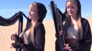 VIDEO: gemelas rubias enloquecen Internet con versión en arpa de Star Wars