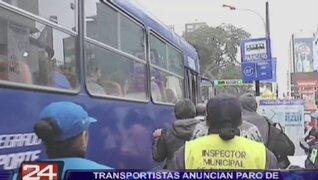 Transportistas del Callao anuncian paro de 24 horas contra el Corredor Vial