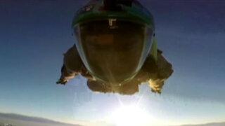 VIDEO: sujeto se lanza a una increíble velocidad desde el cielo