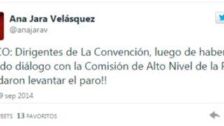 """Ana Jara a través de Twitter: """"Dirigentes de La Convención acordaron levantar el paro"""""""