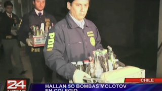 Hallan 50 bombas molotov en un colegio de Chile