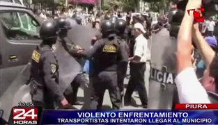 Violento enfrentamiento entre policías y transportistas generó caos en Piura