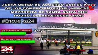 Encuesta 24: 58.8 % está en contra del paro de comerciantes de Santa Anita