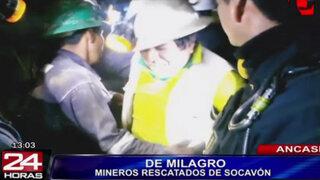 Policía de Áncash rescató con vida a cuatro mineros atrapados en mina