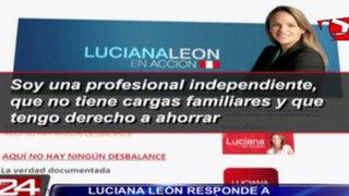 Congresista Luciana León explicó por Internet cómo amortizó departamentos