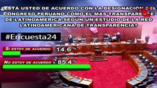 Encuesta 24: 85.4% no cree que el Congreso sea el más transparente