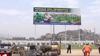 La Parada: Parque del Migrante se encuentra al 60% y recibe críticas