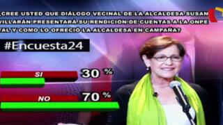 Encuesta 24: 70% no cree que Villarán presentará cuentas a la ONPE