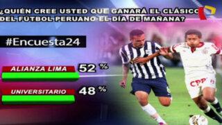 Encuesta 24: 52% cree que Alianza Lima ganará el clásico en el Nacional