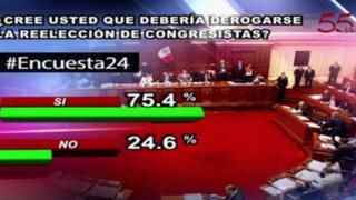 Encuesta 24: 75.4% cree que debería derogarse la reelección de congresistas