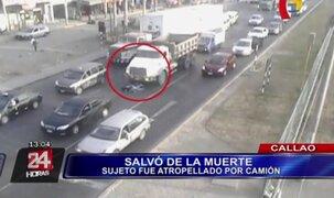 VIDEO: hombre salva de morir tras ser atropellado por camión