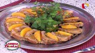 Aprende a preparar un delicioso Rollo de cerdo en salsa de damascos y pecanas
