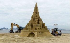 Brasil: enorme castillo de arena busca entrar al libro de Récords Guinness