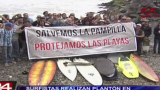 Miraflores: surfistas realizan plantón en protesta por obras en Costa Verde