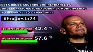 Encuesta 24: 57.6% en desacuerdo con quitar condecoración municipal a Calle 13
