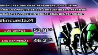 Encuesta 24: 53.8% cree que grifos son responsables se que no bajen combustibles
