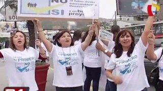 Surco: vecinos protestan por construcción de túnel en Av. Benavides