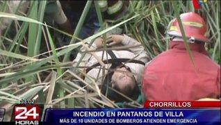 Pantanos de Villa: bomberos rescataron a un herido en incendio forestal