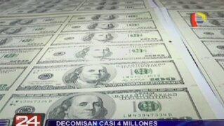 Decomisan cerca de 4 millones de dólares falsos en galería de Lince