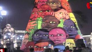 Se encendió el árbol de Navidad en la Plaza de Armas de Lima