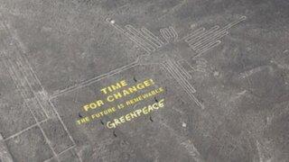 Polémica por mensaje de protesta de Greenpeace en las líneas de Nazca