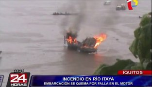 Iquitos: incendio de embarcación en río Itaya dejó un herido