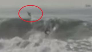VIDEO: captan precisos momentos en los que surfista logra escapar de tiburón