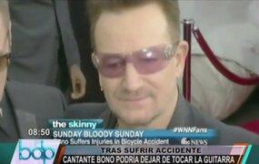 Cantante Bono de U2 dejaría de tocar la guitarra tras sufrir accidente