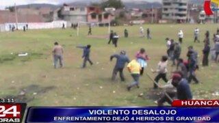 Violento desalojo en Huancayo dejó cuatro heridos de gravedad