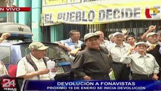 Fonavistas rechazan devolución de S/.1.300 que ofrece el Gobierno