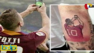 Bloque Deportivo: hincha de la Roma se tatúa 'selfie' de Totti en celebración de gol