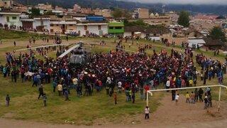 Comuneros de Bambamarca rodearon helicóptero de comitiva de Ollanta Humala