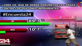 Encuesta 24: 89.3% cree que se deben endurecer penas a peatones imprudentes