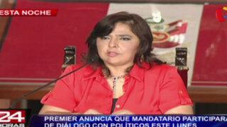 Premier Ana Jara anuncia que Humala participará en diálogo con políticos el lunes